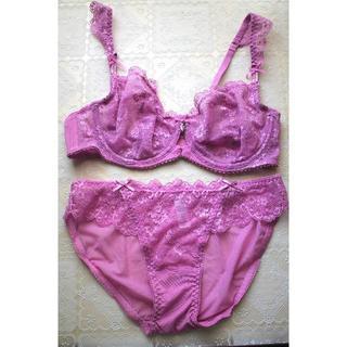 新品♥パープルピンク総レース ブラ&ショーツセット シースルー A75 透け(ブラ&ショーツセット)