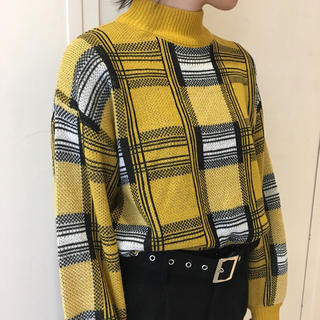 カウイジャミール(KAWI JAMELE)のチェック柄ジャガードニットPO《 yellow 》(ニット/セーター)