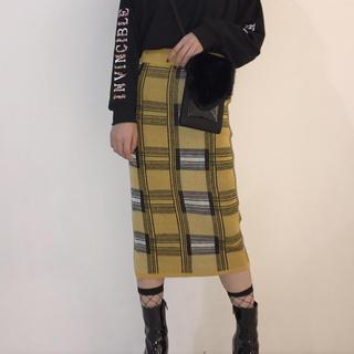 カウイジャミール(KAWI JAMELE)のチェック柄ジャガードニットSK《 yellow 》(ひざ丈スカート)