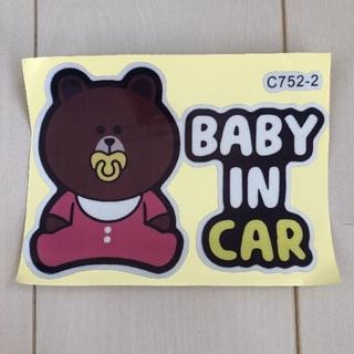 ディズニー(Disney)の新品未使用 baby in car ステッカー ピンク(車外アクセサリ)