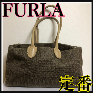 7f8f5465fd2f フルラ(Furla)の☆ FURLA トートバッグ ダークブラウン ベージュ ストロー レザー(トート