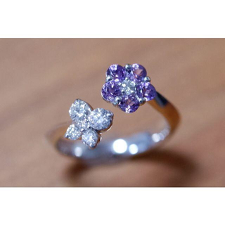 K18 セイレーンアズーロ ピンキーリング ダイヤモンド アメシスト (リング(指輪))