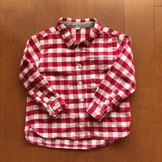 ムジルシリョウヒン(MUJI (無印良品))のsaya様専用 無印良品 赤チェックシャツ 長袖 100cm(Tシャツ/カットソー)