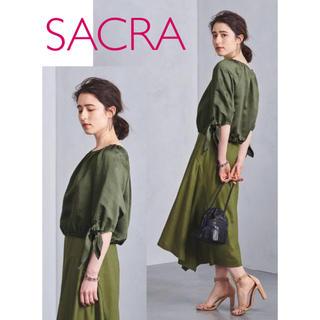 サクラ(SACRA)の新品SACRAサクラノットスリーブプルオーバーブラウス カーキ 袖リボン(シャツ/ブラウス(半袖/袖なし))