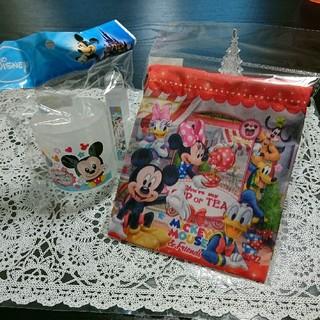 ディズニー(Disney)のディズニー ミッキー&ミニー 歯ブラシコップセット&ミニ巾着(歯ブラシ/歯みがき用品)