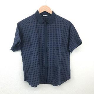 バビロン(BABYLONE)の美品 BABYLONE  バビロン レディース チェックシャツ ネイビー 紺色(シャツ/ブラウス(半袖/袖なし))