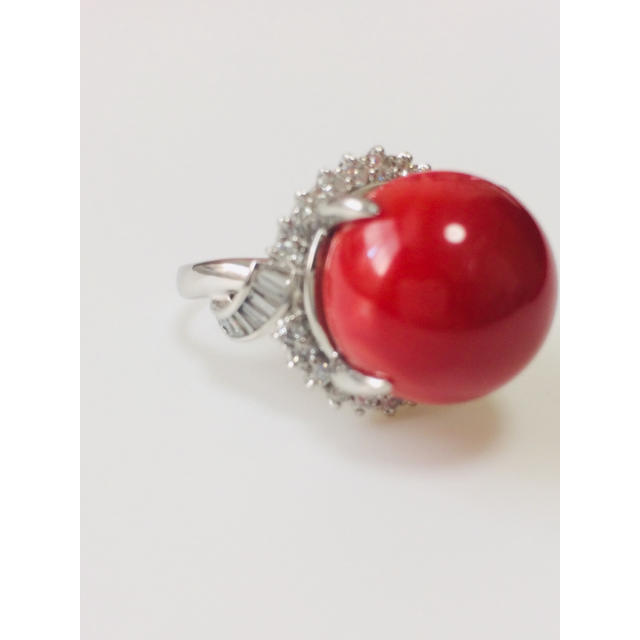 PTサンゴ ダイヤ リング 16ミリ レディースのアクセサリー(リング(指輪))の商品写真