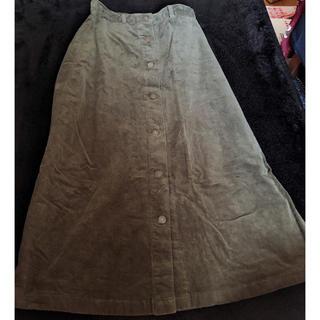 ジーユー(GU)のモスグリーンロングスカート(ロングスカート)
