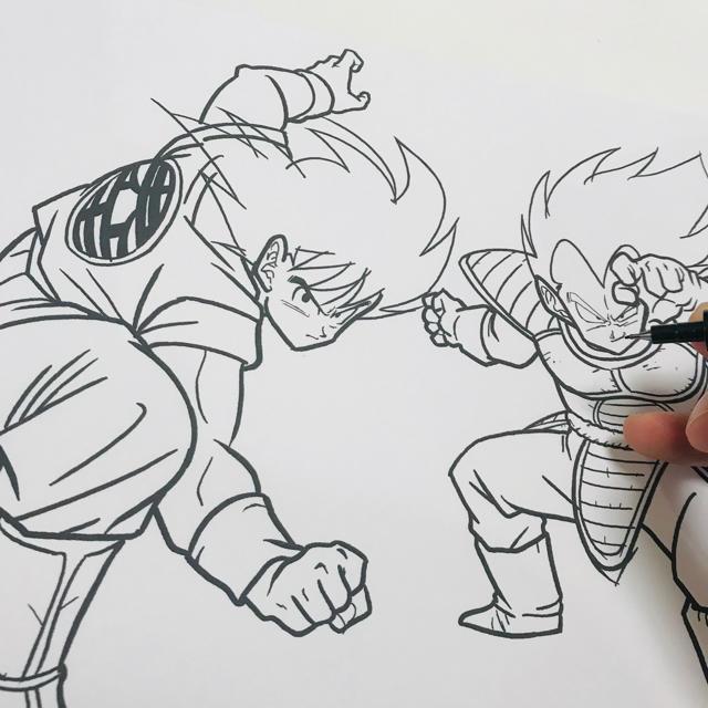 手描きドラゴンボールイラスト『悟空VSベジータ』
