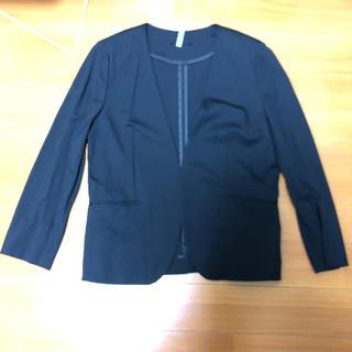 ジーユー(GU)のGU ノーカラージャケット 黒 L(ノーカラージャケット)