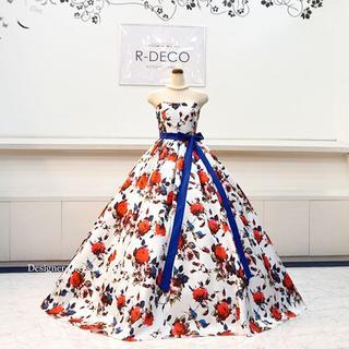 ウエデイングドレス(パニエ無料) 白ベース花柄ドレス 披露宴/二次会ドレス(ウェディングドレス)