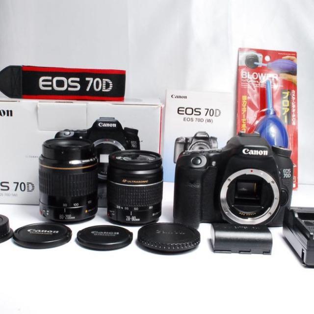 Canon(キヤノン)の【美品】Canon EOS 70D ダブルレンズ  スマホ/家電/カメラのカメラ(デジタル一眼)の商品写真