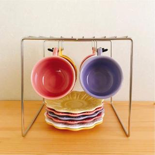 ディノス(dinos)のステンレス製 カップ & ソーサー ラック 収納 ハンガー(収納/キッチン雑貨)