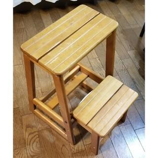 木製 脚立 踏台 階段式(折り畳みイス)