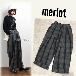 メルロー(merlot)のmerlot♡裾ダブルツイードチェックスーパーワイドパンツ(カジュアルパンツ)