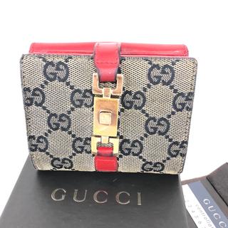 2e66ac638894 グッチ(Gucci)のGUCCI 折り財布 レッド GG柄 キャンパス生地 ジャッキー金具(