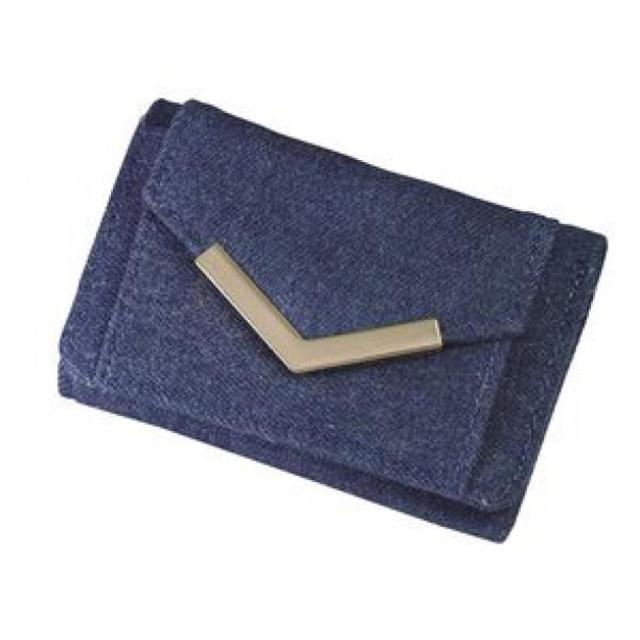 小さい 財布 コンパクト三つ折りミニ財布 花柄 デニム レディース 財布 カード レディースのファッション小物(財布)の商品写真
