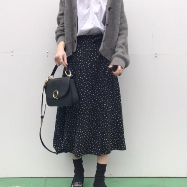 ドット柄スカート レディースのスカート(ひざ丈スカート)の商品写真