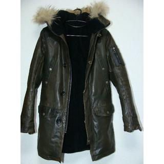 シェラック(SHELLAC)のSHELLACシェラック牛皮革カウカーフレザーN-3Bモッズコートジャケット襟(レザージャケット)