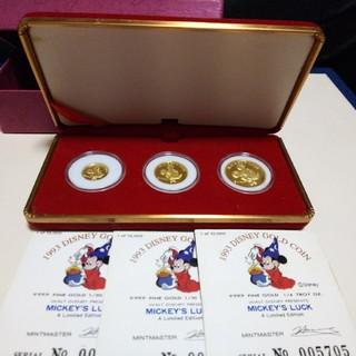 ディズニー(Disney)の【Disney】【新品】【限定】 純金 ミッキー金貨3枚セット【1993】 (貨幣)