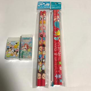 ディズニー(Disney)の赤鉛筆4本 消しゴム2個セット(鉛筆)