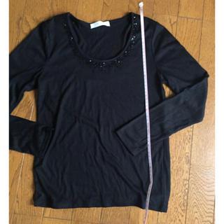 グローブ(grove)のgrove 黒 ビーズ付き長袖Tシャツ(Tシャツ(長袖/七分))