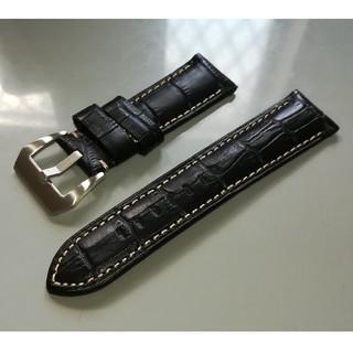 オフィチーネパネライ(OFFICINE PANERAI)のレザーベルト 黒 クロコ型押 24mm 時計(レザーベルト)