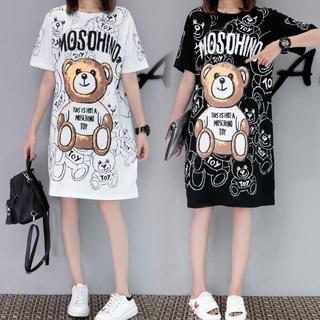 モスキーノ(MOSCHINO)のくまプリント Tシャツ ワンピース ロンT モスキーノ風 ブラック(Tシャツ(半袖/袖なし))
