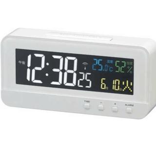 MAG(マグ) 電波目覚まし時計 カラーハーブ 4カラーデジタル液晶表示 ホワイ(その他)