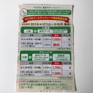 東京サマーランド 割引券(プール)