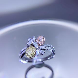 ピンクとイエローダイヤモンドのコラボ指輪(リング(指輪))