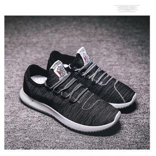 スニーカー男女兼用 フィットネスシューズ 靴 ジョギング ブラック25.5cm(スニーカー)