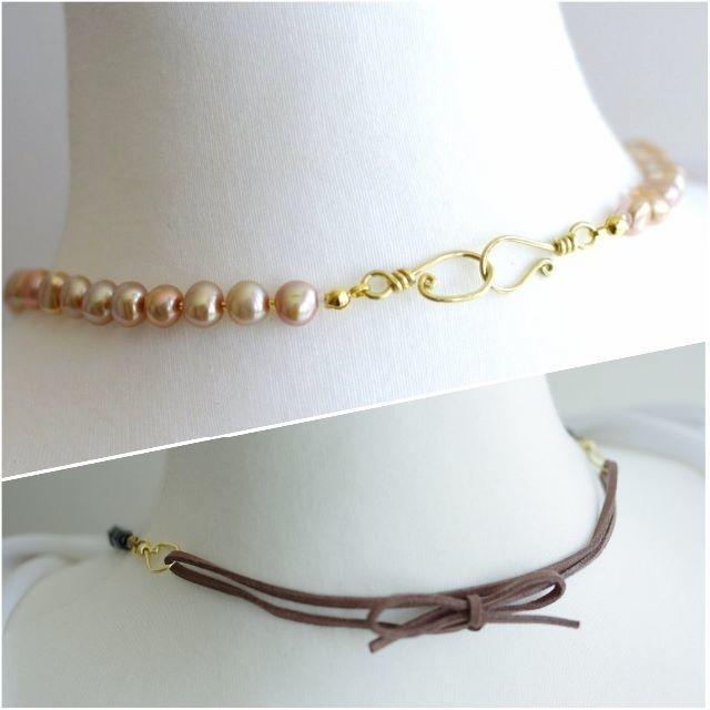 淡水パールのネックレス リボンで長さ変更可 ハンドメイドのアクセサリー(ネックレス)の商品写真