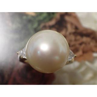 ミキモト 大珠 白蝶真珠 13.9mm クリーム パール ダイヤモンド 0.67(リング(指輪))