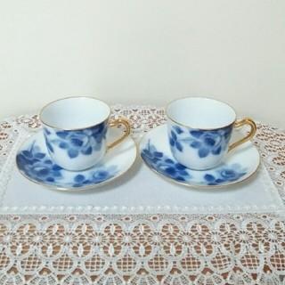 オオクラトウエン(大倉陶園)の☆大倉陶園ブルーローズ☆カップ&ソーサー☆2客セット(食器)