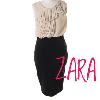 ザラ(ZARA)のZARA【美品】シャーリング加工 ひざ丈 フォーマル ドレス ワンピース(ミディアムドレス)