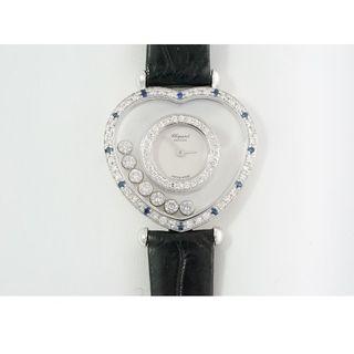ショパール(Chopard)のショパール☆18KWG☆ハッピーダイヤモンド☆サファイア☆クォーツ☆中古美品(腕時計)