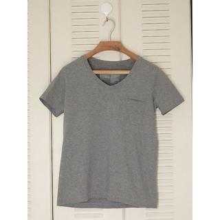 ムジルシリョウヒン(MUJI (無印良品))の無印良品 オーガニックコットンムラ糸Vネック半袖Tシャツ S・グレー(Tシャツ(半袖/袖なし))