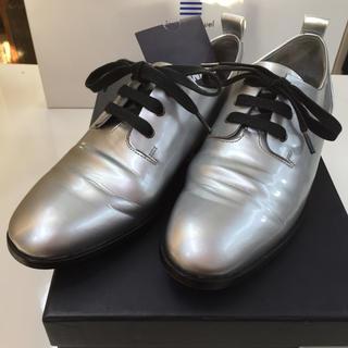 ジルサンダー(Jil Sander)のそこそこ美品!JIL SANDER NAVY レザーシューズ 35 22.0cm(ローファー/革靴)