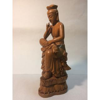 弥勒菩薩 310mm 木彫刻(彫刻/オブジェ)