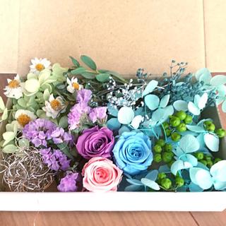 ブルー&グリーン 花材 アソートボックス(プリザーブドフラワー)
