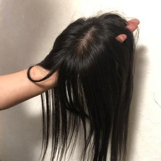 人毛100% 前髪付き総手植え 頭頂部ヘアピース 自然な黒髪色(前髪ウィッグ)