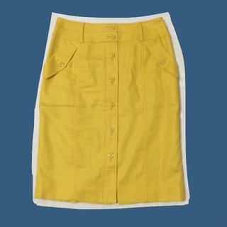 ヴァンドゥーオクトーブル(22 OCTOBRE)の黄色 イエロー タイトスカート(ひざ丈スカート)