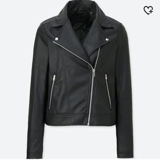 ユニクロ(UNIQLO)の美品 ユニクロ ネオダブルライダース M 黒(ライダースジャケット)