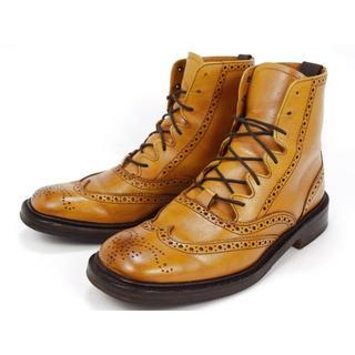 トリッカーズ(Trickers)のトリッカーズ 24cm ウイングチップ ショートブーツ ブラウン 本革(ブーツ)