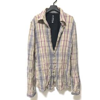 ダブルジェーケー(wjk)の定3.6万美品 wjk シワ加工コットンチェックフックシャツL(シャツ)