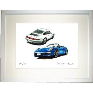 GC-1126 Porsche911カレラ限定版画直筆サイン額装●作家平右ヱ門(版画)