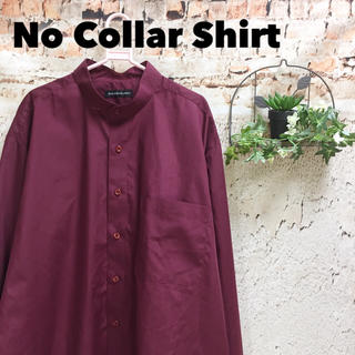 美色ボルドー ノーカラーシャツ 長袖 バンドカラー