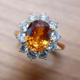ジュネ K18 オレンジサファイア 2.59ct ダイヤモンド 1.17ct リ(リング(指輪))