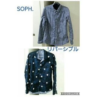ソフ(SOPH)のSOPH.リバーシブルシャツ ソフS ギンガム カモフラ ブルー×ネイビースター(シャツ)